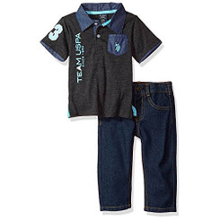 U.S. Polo Assn. Baby Boys Polo Shirt and Pant Set, Dark Gray - Infant