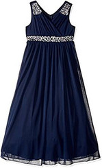 Speechless Big Girls' Shirr Bodice with Trim Maxi Dress, Navy - 6Yrs