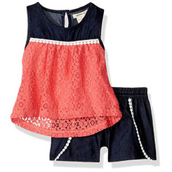 One Step Up One Step Up  2 Piece Melon Lace Top and Short Set - 4Yrs