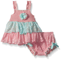 Little Lass Baby Girls' 2 Pc Crochet Lace Diaper Set - 3-6M