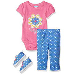 Bon Bebe Baby Girls' 3 Pc Pant Set with  Bodysuit and Sneakers, 6-9M