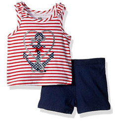 Kids Headquarters Baby Girls' 2 Pieces Shorts Set, Navy