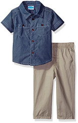 Bon Bebe Baby Boys  2 Piece Shirt with Woven Pant 9-12M