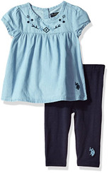 U.S. Polo Assn. Baby Girls  Fashion Top and Legging Set, Peacoat 12-18M