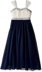 Speechless Big Girls Shirr Bodice with Trim Maxi Dress, Navy/Ivory Girls 7-16