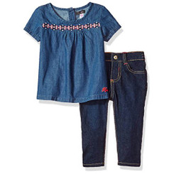kensie Baby Girls' Fashion Top and Pant Set, Blue - 12-18M