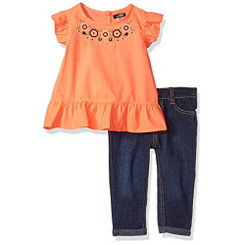 kensie Baby Girls  Fashion Top and Pant Set, Neon Light Coral - 12-18M