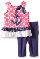 Kids Headquarters Baby Girls  Nautica Printed Tunic with Navy Capri - 6-9M