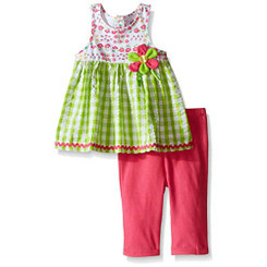 Kids Headquarters Baby Girls  Seersucker Gingham Tunic and Capri 6-9M