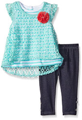 Nannette Baby Girls  2 Piece Crochet Top and Legging Set  9-12M