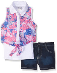 kensie Girls 3 Piece Cami, Tulle Chiffon Top with Denim Short -4Yrs