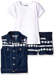 kensie Girls  3 Piece Lace Trimmed Denim Vest, Short and T-Shirt Set - 4Yrs