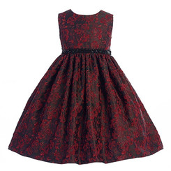 Crayon Kids Girls Red Black Floral Sequined Belt Dress - Toddler