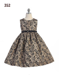Crayon Kids Girls Gold Black Floral Sequined Belt Dress - Girls 4 - 6yrs