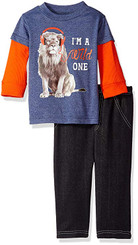Bon Bebe Baby Boys 2 Piece Long Sleeve Top with Knit Denim Pant - 9/12M