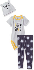 Gerber Baby Boys 3 Piece Bodysuit, Pant and Cap Set - New Born