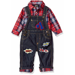 Boys Rock Baby Boys' 2pc Overall Set Patches, Red 12/18M