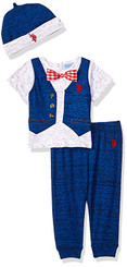 U.S. Polo Assn. Baby Boys T-Shirt,  Pant Set, Polka Dot Bow Tie With Cap