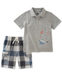 Kids Headquarters Boys' 2 Pieces Polo Shorts Set, Gray - 4 - 6