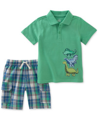 Kids Headquarters Boys' 2 Pieces Polo Shorts Set, Green - 4 - 6
