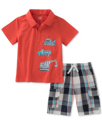 Kids Headquarters Boys' 2 Pieces Polo Shorts Set, Red 4 - 6