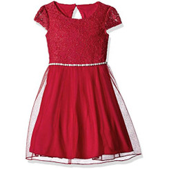 Speechless Little Girls' Glitter Lace Jewl Waist Dress, Red 3yrs