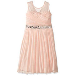 Speechless Girls Illusion Shirred Sweatheart Top Dress, Pale Blush . Girls 7-16