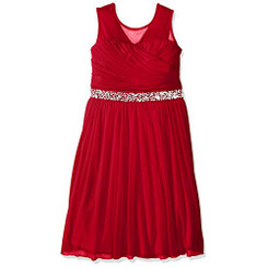 Speechless Girls Illusion Shirred Sweatheart Top Dress, Red Girls 4 - 6