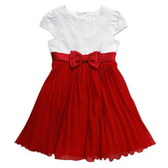 Youngland Short Sleeve Textured Knit To Chiffon Accordion Dress - 4yrs