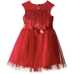 ZUNIE Illusion Sequin Dress With Ribbon, Red 8/9yrs