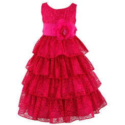Wonder Girl  Elle  Floral Lace Tiered  Special Occasion Dress 8yrs