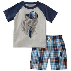 Kids Headquarters Baby Boys  2 Pieces Short Set, Navy/Gray,  9/12M
