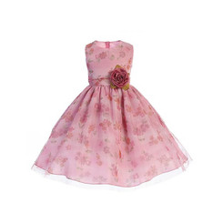 Crayon Kids Dusty Rose Floral Dress - 5/6Yrs