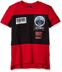 Southpole Short Sleeve Tee with Colorblock and Nylon Patch