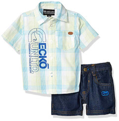 Marc Ecko ShortSleeve Plaid Woven Shirt and Denim Short Set - 12/18M