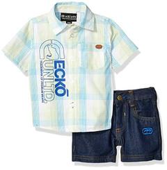 Marc Ecko ShortSleeve Plaid Woven Shirt and Denim Short Set - 12/18M