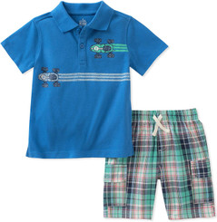 Kids Headquarters 2 Pieces Polo Shorts Set 9/12M