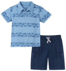 Kids Headquarters 2 Pieces Dino  Polo Shorts Set - 9/12M