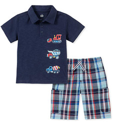 Kids Headquarters  2 Pcs Truck Polo Shorts Set - 12/18M