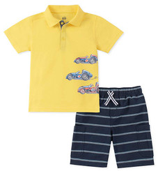 Kids Headquarters  2 Pcs  Vintage Race Cars Polo Shorts Set - 12/18M.