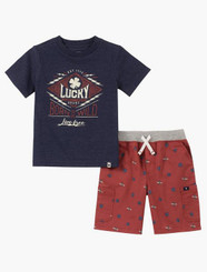 Lucky Brand Baby Boys 2 Pieces Shorts Set Navy - 12/18M