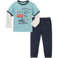 Kids Headquarters long Sleeves tee With a Pull on Jogger Pants Set 9/12M