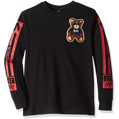 Southpole Black Longsleeve Tee Shirt With Teddy Bear Chenille - 10/12Yrs