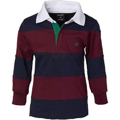 Sportoli Wide Striped Long Sleeve Polo Rugby Shirt - Burgundy 13/14 Yrs
