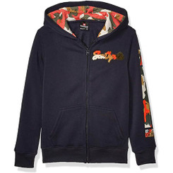 Southpole - Kids Fleece Hooded Fullzip, Navy camo Patch - 7/8Yrs