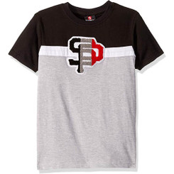 Southpole Chenille Tee Shirt - Blk & Grey -