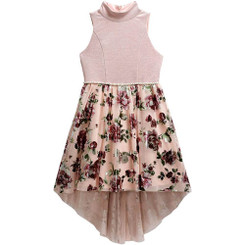 Emily West Big Girl Hi Low Flowery Foil Skirt Dress With High Neck Bodice