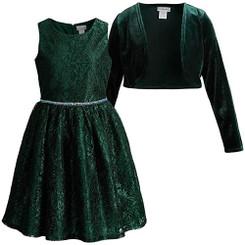 Emily West Emerald Green Embellished Waist Lace Dress With Bolero - 10/12 Yrs