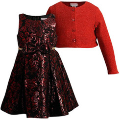 Emily West Red Jacquard Dress with Botton Down Bolero