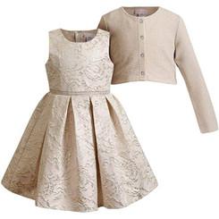 Emily West Pleated Skirt Gold  Jacquard Dress With Matching Bolero - Big Girl